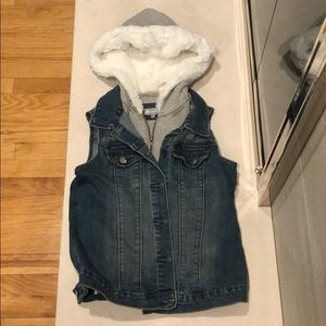 Tractr denim vest with grey hoody insert Youth LG